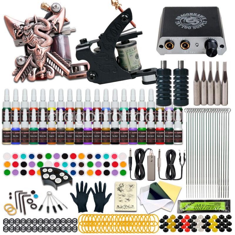 Dragonhawk Tattoo Kit Set 40 color Inks Power Supply 2 Machine Guns Needles Tips