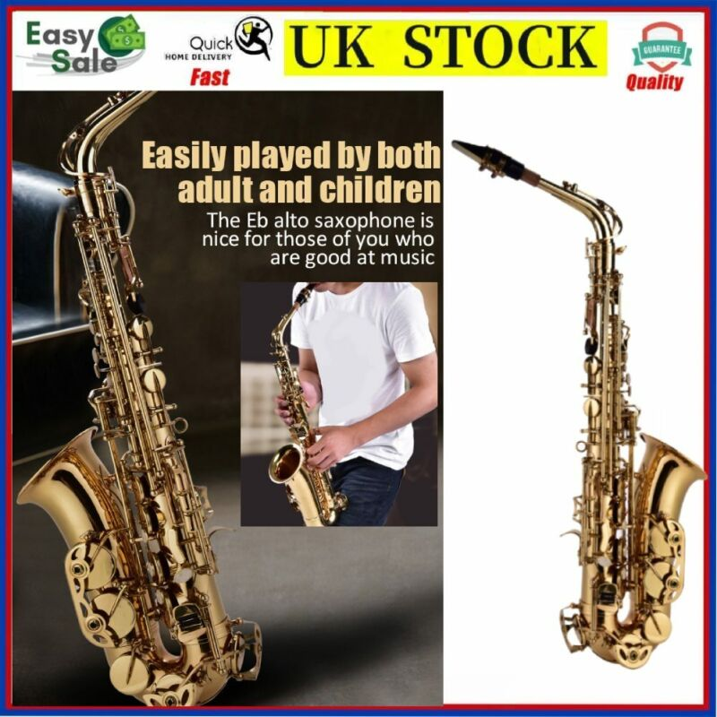 Pro Alto Eb Sax Saxophone Brass Golden Set with Case Mouthpiece Grease For Adult