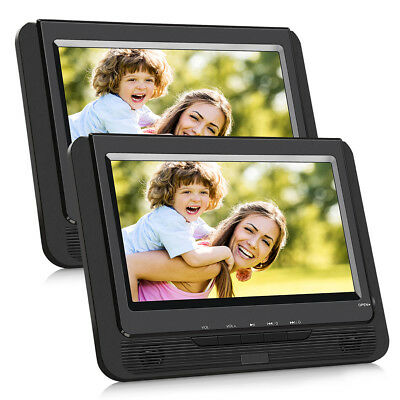"2x 9"" TFT LCD Tragbarer bildschirm Auto Kopfstütze DVD Player USB SD AV-IN AKKU"