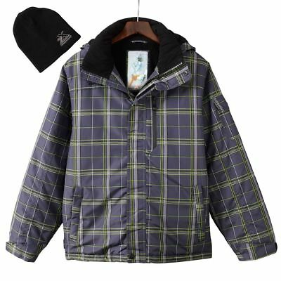 New ZeroXposur Men's Gray Plaid Comfort Warmth Performance Ski Snowboard Jacket