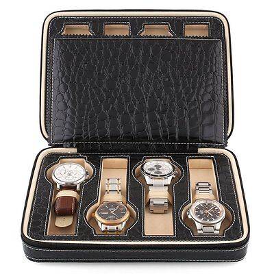 Black Faux Leather 8 Grids Watch Storage Box With Display Convenient Portable