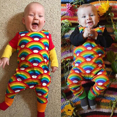 UK Newborn Baby Boy Girl Toddler Rainbow Romper Bodysuit Jumpsuit Outfit Clothes