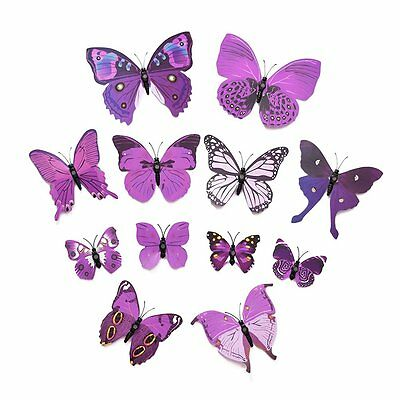 Art Design Decal Wall Stickers 3D Butterfly Wall Stickers Room Decor Purple YM