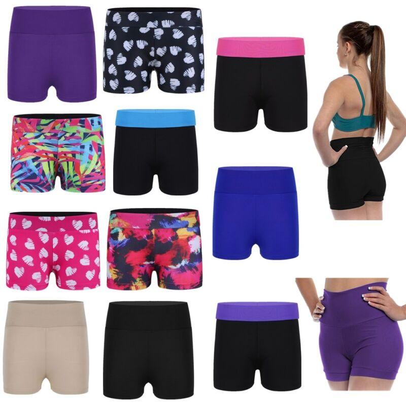Girls Kids Dance Sports Shorts High Waisted Hot Pants Workout Gym Ballet Bottoms