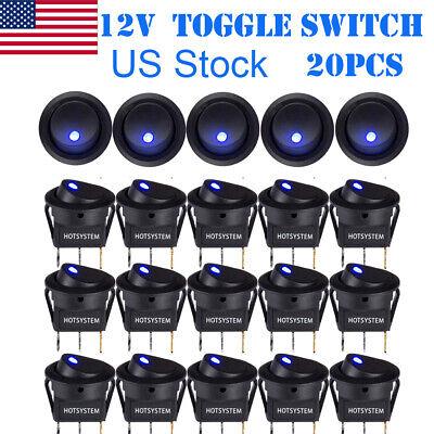 20 Rocker Switch Toggle 12v Led Light Car Auto Boat Round Onoff Spst 20a