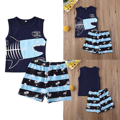 US Kids Toddler Baby Boy Outfits Clothes Sleeveless Tops Romper+Pants 2pcs Set