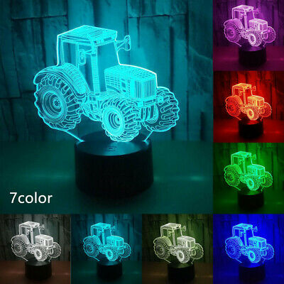Tractor Shape Bedroom Home 7 Colors Night Light Decorative Party Led 3D Illusion