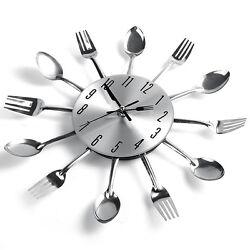 Unique Spoon Fork Clock Design Sliver Cutlery Kitchen Utensil Wall Clock