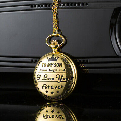 Mens Pocket Watch Electronic TO MY SON Carved Retro Case Vintage Chain Luxury