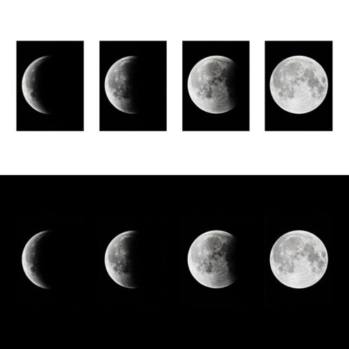 4Pcs Indoor Lunar Eclipse Moon Creative Art Canvas Wall Poster No Frame Picture