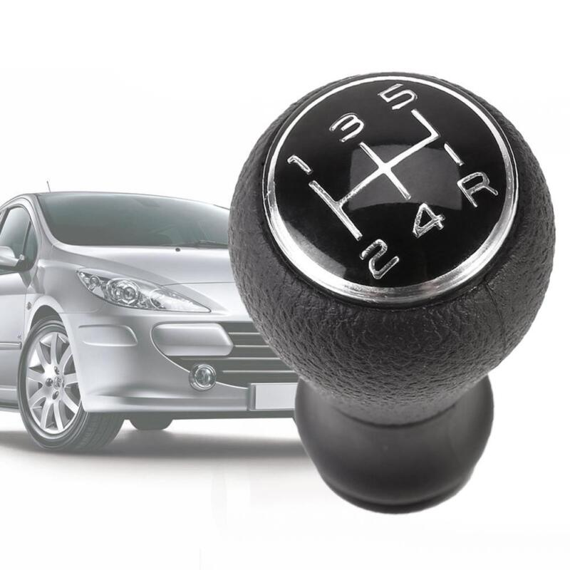 Universal Car Manual Gear Stick Shifter Shift Knob 5-speed ABS Black Leather