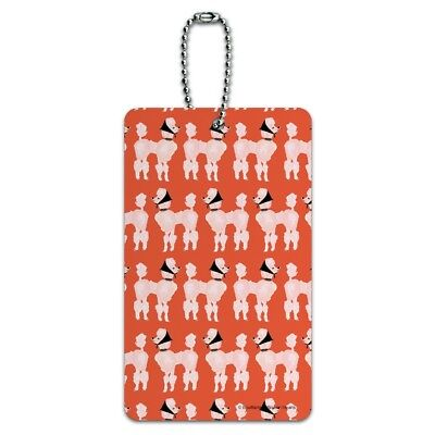 Sassy Pretty Proper Poodle Parade Pattern Luggage Card Suitcase Carry-On ID Tag - Pretty Proper