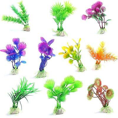 10pcs/lot Plastic Aquarium Decorations Artificial Plants Fish Tank Grass Flower