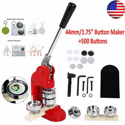 """44mm/1.75"""" Tinplate Button Maker Aluminum Badge Punch Pin Machine 500XButtons"""