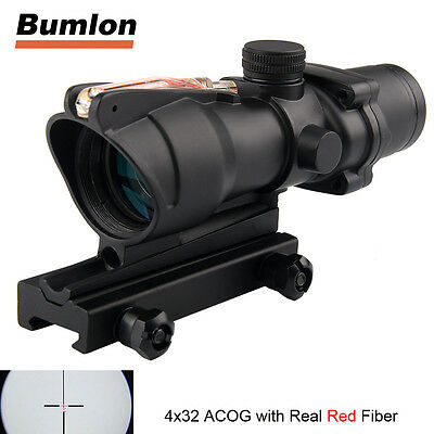 ACOG 4X32 Real Red Fiber Source Real Optics Illuminated Crosshair Rifle Scope