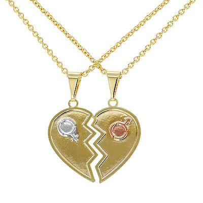 18K Gold Plated His And Her Couple Heart Love Pendant Necklace 19
