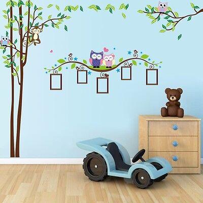 Wandtattoo Wandsticker Aufkleber Baum Wald Sticker Foto Eulen Kinderzimmer Affe