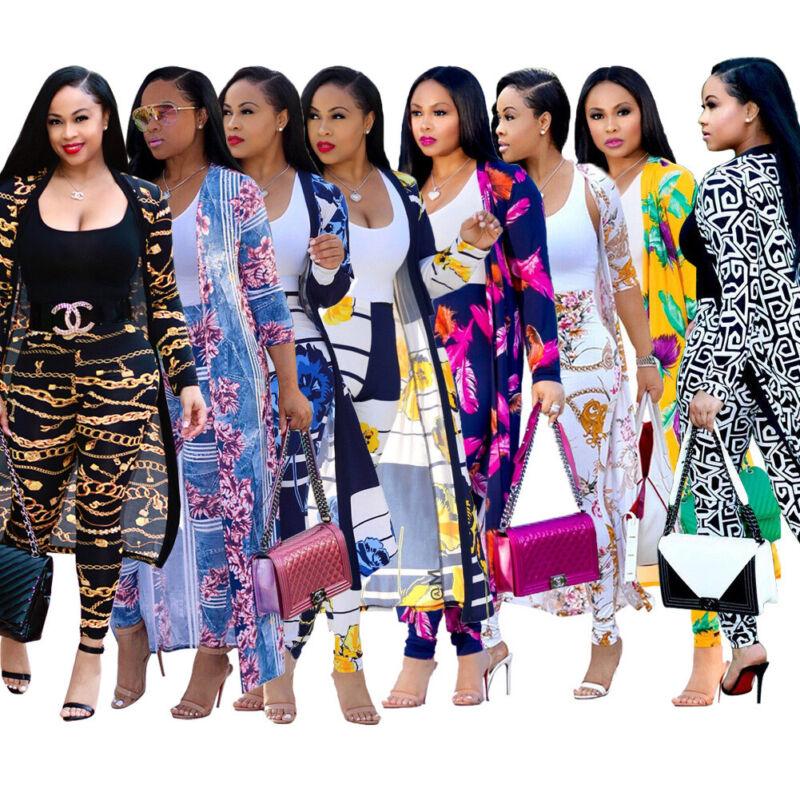 Urban Autumn Women Long Sleeves Print Coat Set Casual Club Outfits Pants Suit2pc