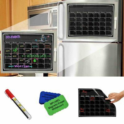 "16"" x 12"" Dry Erase Magnetic Refrigerator Calendar Message Black Board Home Set"