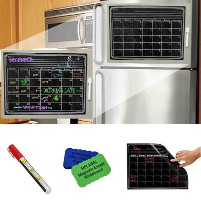 16 X 12 Dry Erase Magnetic Refrigerator Calendar Message Black Board Home Set