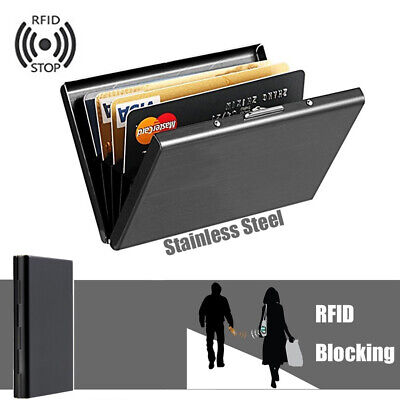 Black Metal Business ID Credit Card Holder RFID Blocking Protector Case Box Well Clothing, Shoes & Accessories