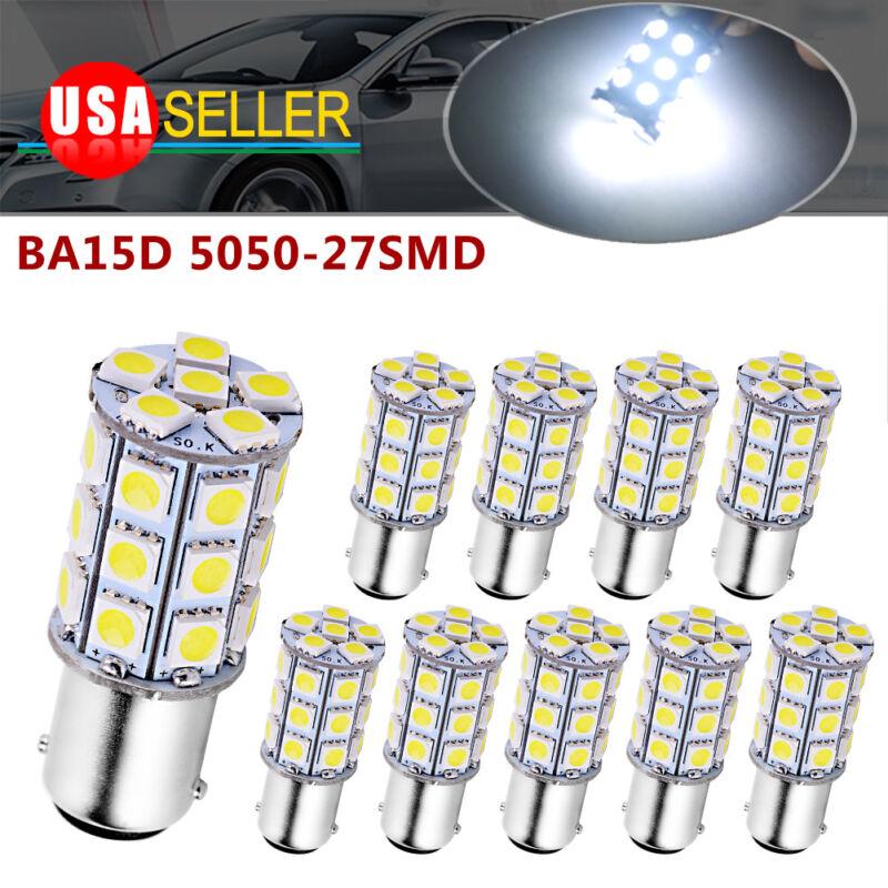 10X BA15D 5050 27smd RV Marine Boat Trailer LED Light bulbs 1142 Pure White