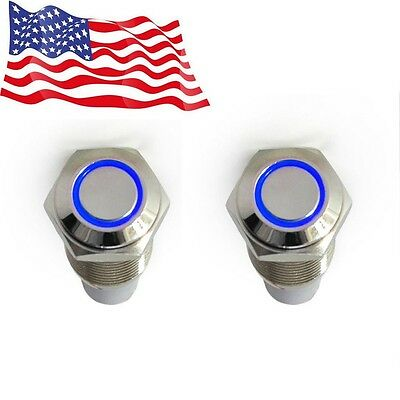 2x 16mm 12v Car Blue Latching Led Angel Light On-off Push Metal Button Switch Us