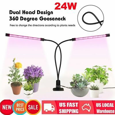 24W 40 LED Timing Plant Grow Light Gooseneck Dual Head Lamp Hydroponics Dimmable