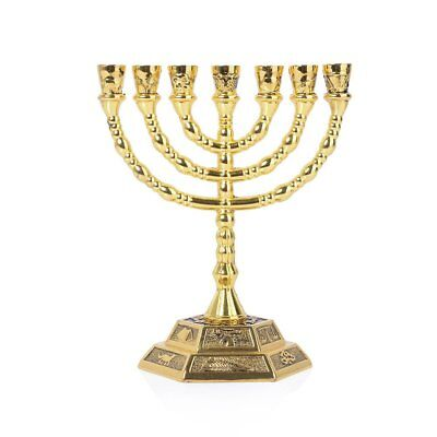 12 Tribes of Israel Menorah, 7 Branch Hexagonal Base Jewish Candle Holder, Holy