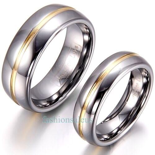 8mm/6mm Gold Groove Inset Tungsten Carbide Ring Men's Women'