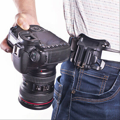 NEW Quick Holster Hanger Waist Belt Buckle Button Mount Clip for All DSLR Camera