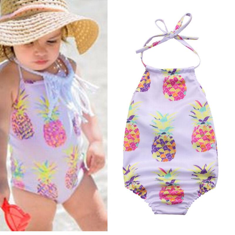 Baby Girl Swimsuit Pineapple Backless Halter Swimwear Sunsuit Beachwear Outfit