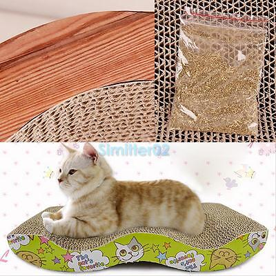 Cat Kitten Corrugated Paper Board Pad Scratcher Bed Mat Claws Scratch Care Toy #