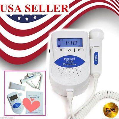 Us Fetal Doppler Pr Heart Beat Lcd Pocket Prenatal Baby Health Monitor 3mh Prob
