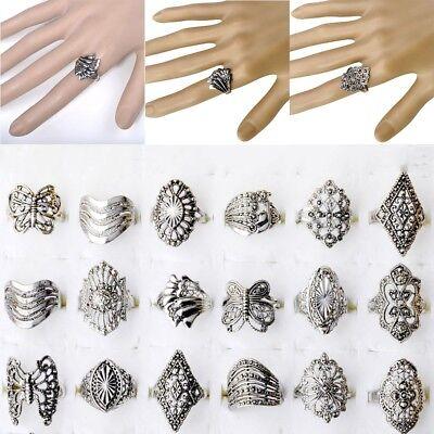 50/100pcs Wholesale Bulk Jewelry Lot Mixed Style Tibet Silver Vintage Rings - Bulk Wholesale