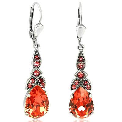 Silber Ohrringe Jugendstil mit Kristallen von Swarovski KorallRot NOBEL