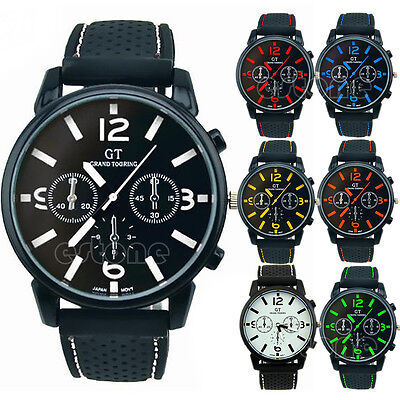 New Mens Fashion Analog Silicone Stainless Steel Quartz Hours Sport Wrist Watch