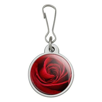 Rose Zipper Pull (Red Rose Close-up Jacket Handbag Purse Luggage Backpack Zipper Pull)