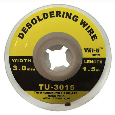 1.5m 5ft 3mm Braid Solder Remover Wick Soldering Welding Desoldering Wires