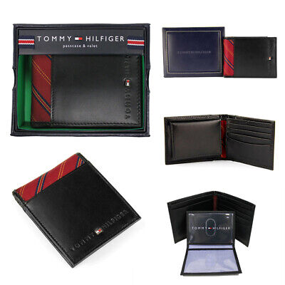 Tommy Hilfiger Men's Leather Wallet Passcase & Valet Billfold Black w/ Red Clothing, Shoes & Accessories