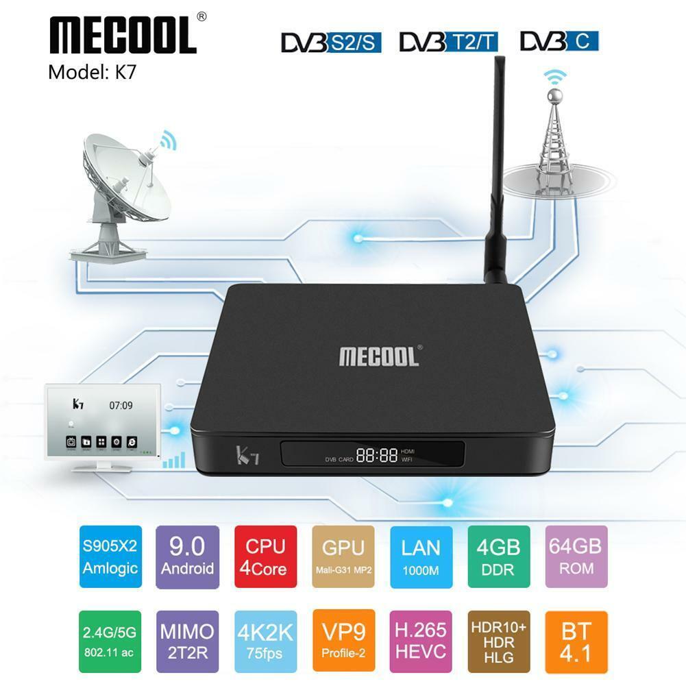 MECOOL K7 Android 9.0 Smart TV Box 4K Quad Core 4+64G WIFI B