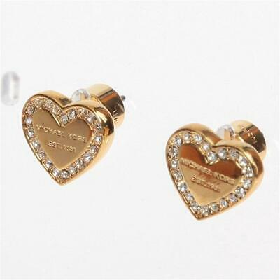 Michael Kors Gold Tone Logo Heart Charm Earrings