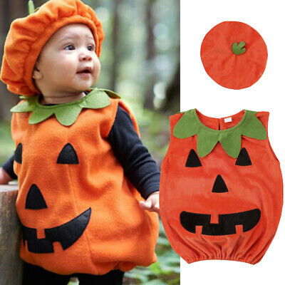 Pumpkin Costume For Toddler Boy (Toddler Baby Kid Girl Boy Halloween Pumpkin Costume Clothes Hat Fancy Outfit)