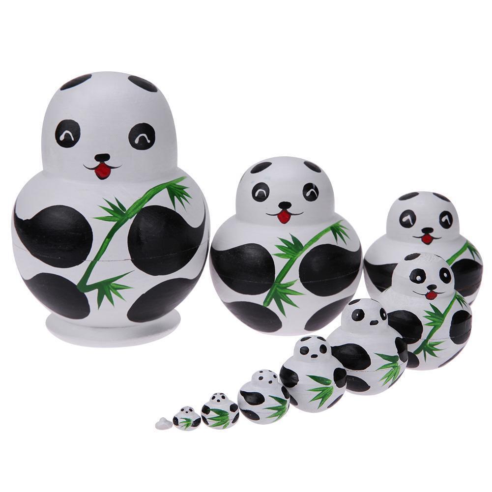 10pcs/Set Basswood Panda Nesting Dolls Handmade Matryoshka D