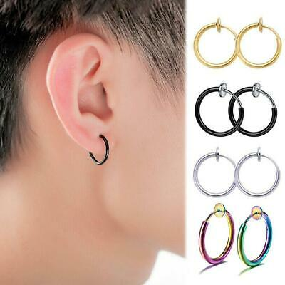 Best Retractable Fashion Steel Simple Round Circle Earrings No Need