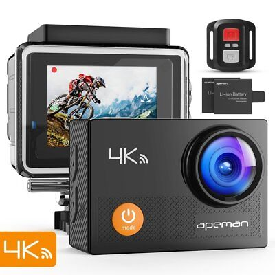 APEMAN 4K Action Cam Wi-Fi 16MP Ultra FHD Impermeabile 30M Immersione Sott'ac...
