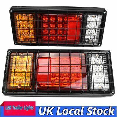 40LED Rear Trailer Boat Lights 12V Tail Indicator Lamp Fog Rain Metal Cage Cover