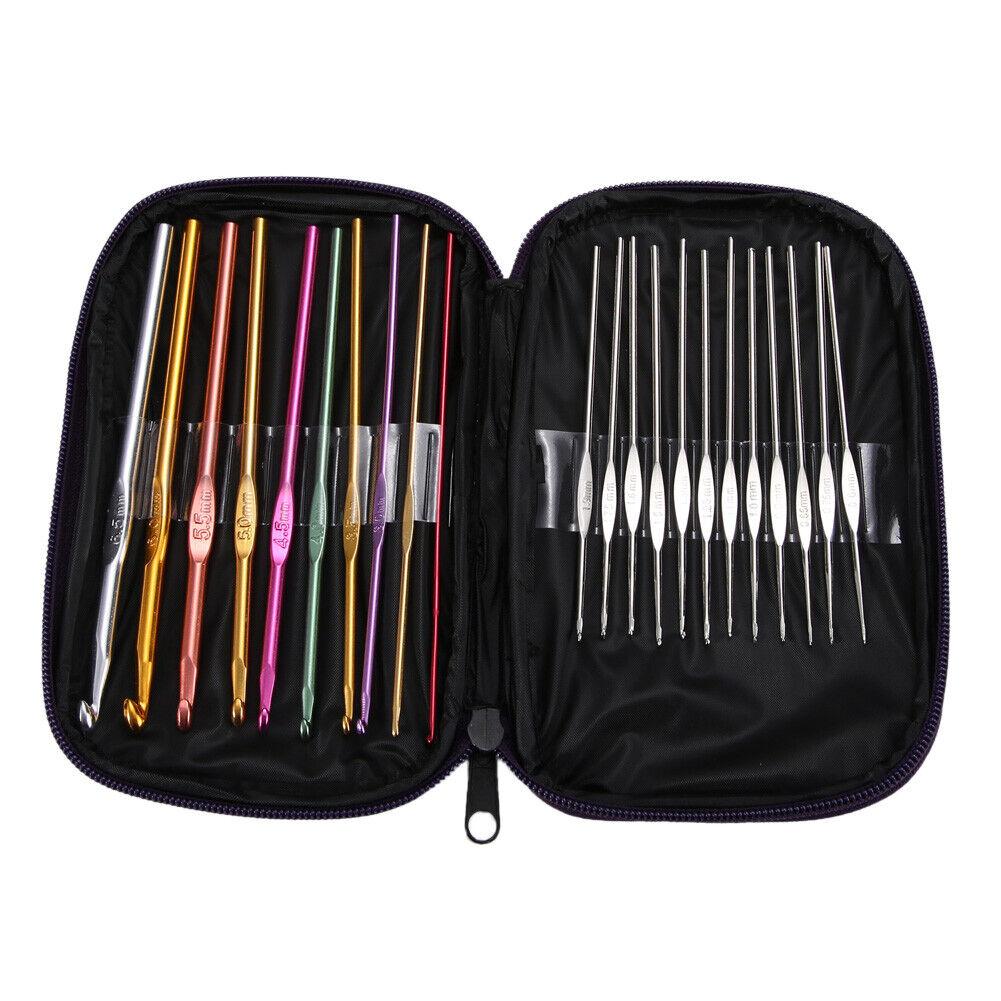 Aluminium Crochet Crochets Aiguilles Knit 22pcs Set Multi Color Weave Craft fil nouveau