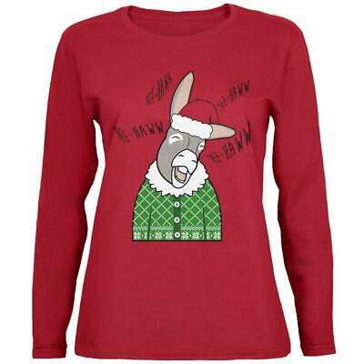 Italian Christmas Donkey Hee-Haw Funny Cute Womens Long Sleeve T Shirt