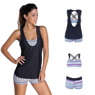 - Womens 3 Piece Tankini Bikini Set 12 Push-up Padded Boyshorts Swimwear Plus Size